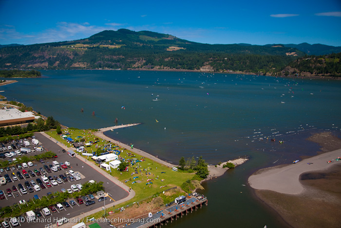 Our school location at the Hood River Event Site on Kiteboard 4 Cancer Saturday in July.