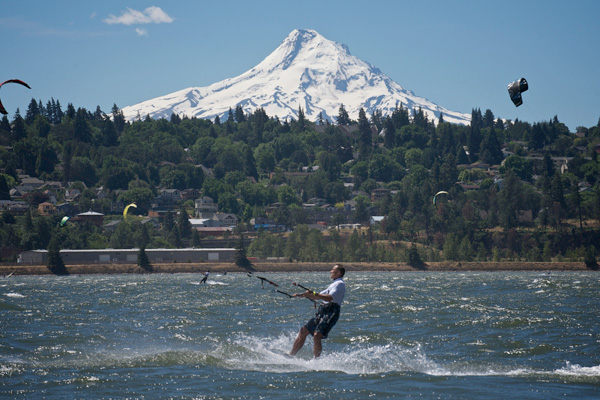 When kiteboarding toward the Washington (north) side of the river, this is your view looking south toward Hood River.