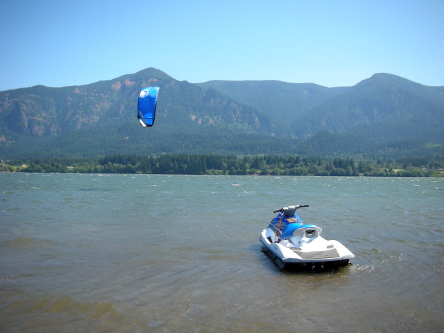 Our first jet ski and our first teaching location in beautiful Stevenson, Washington, just 17 miles downriver from where we are today.