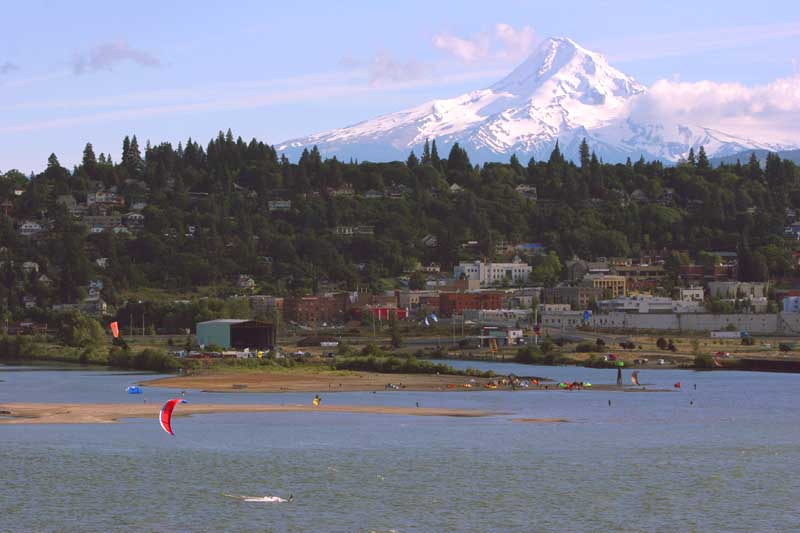 This is where we kite and yes it is real. View of Hood River and Kite Spit from the Washington side of the Columbia River