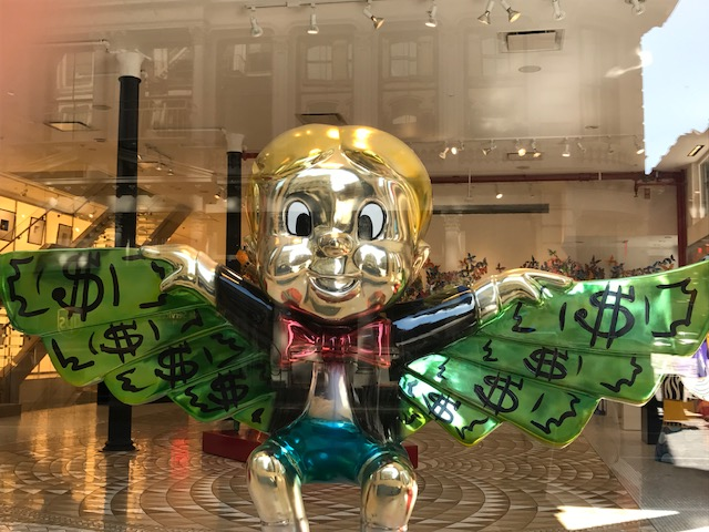 Richie Rich sculpture in Soho by Alec Monopoly at the Eden Gallery in Soho. I'm always inspired when I walk past this little guy.