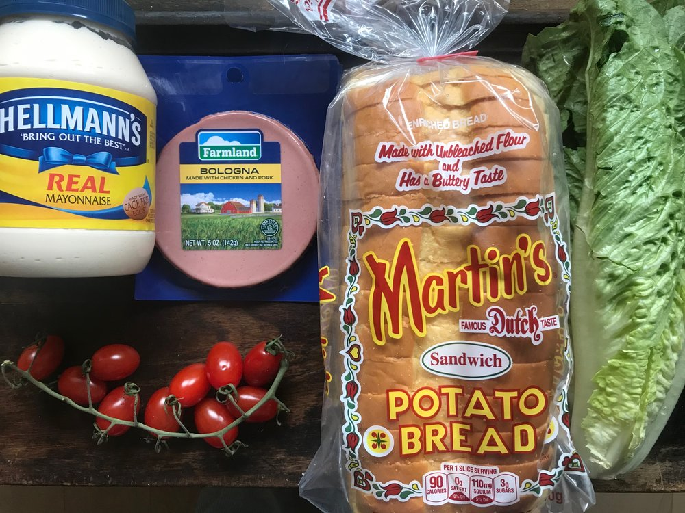 Potato bread from Pennsylvania, that bologna is actually from Kansas City, Missouri. the mayonaise was packaged in New Jersey, the romaine came from California, and the tomatoes came from Florida. One little sandwich covers a lot of ground - which isn't necessarily good for the planet…