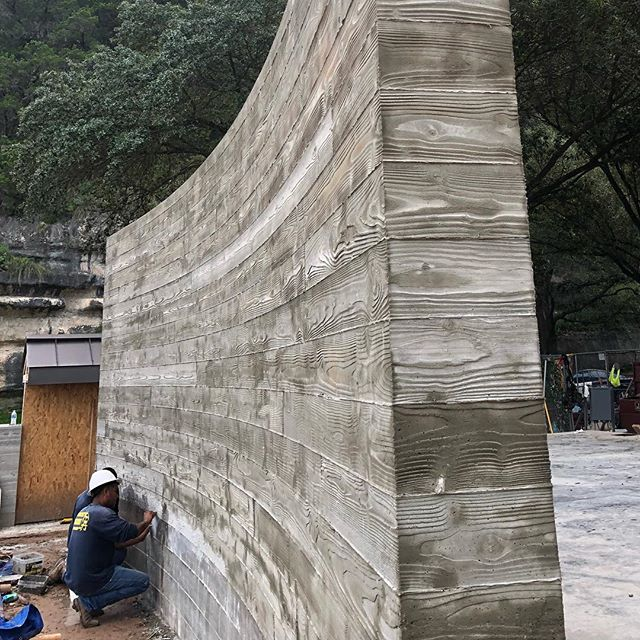 Third Board Formed Wall at our Lake Austin Project. #laruearchitects #brianlongcustomhomes #boardformedconcrete