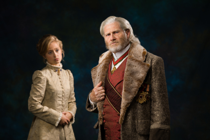 Ron Pyle is King Lear and Gabby Prairie is Cordelia in BJU's Classic Players production, King Lear, 2018. (Hal Cook)