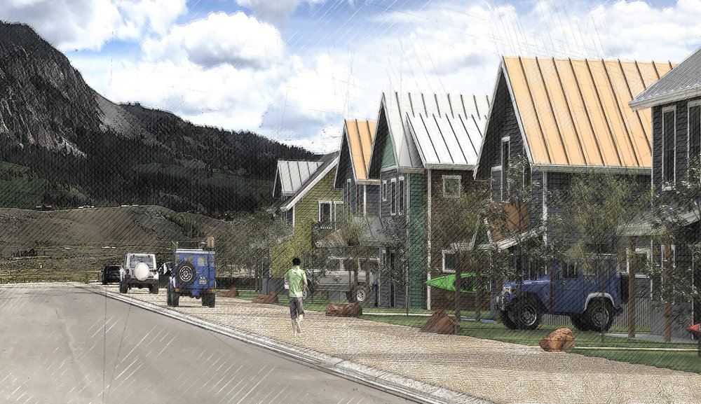The Paradise Park project will feature 25 units of affordable housing in downtown Crested Butte.  Rendering provided by Studio PBA.