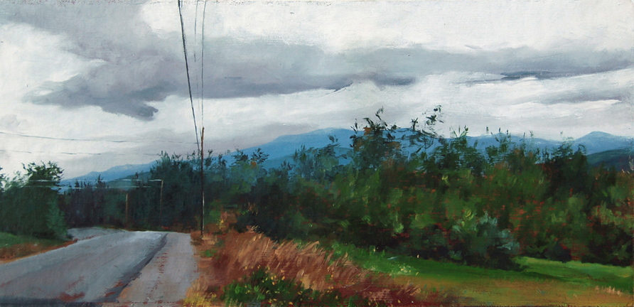 """The Road"", 2014, oil on board, 7.5"" x 18"""