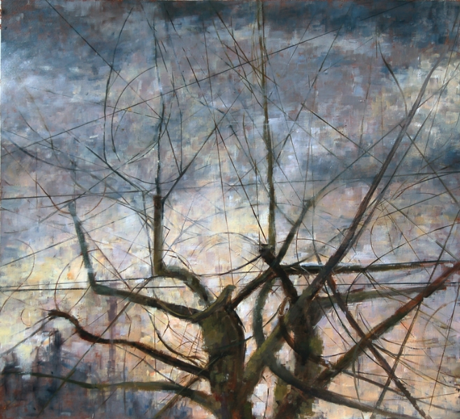 "Winter Days at Dusk"", 2012, oil on paper, 22"" x 20"""