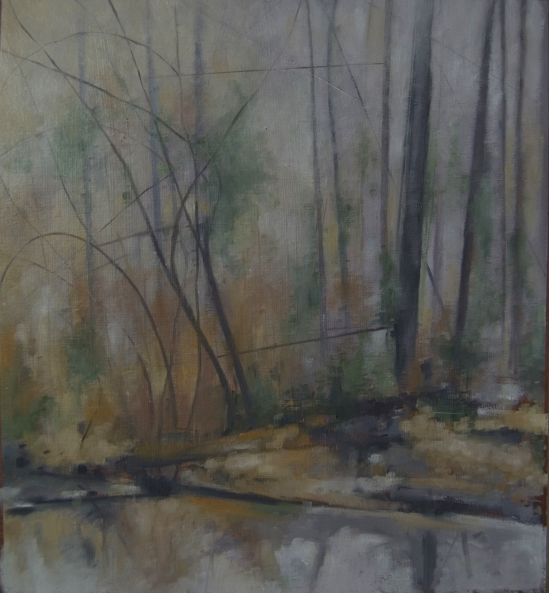 """January Morning"", 2014, oil on chipboard, 15"" x 14"""