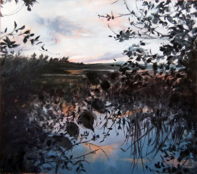 """Recollections of Flying Pond II"", 2013, oil on paper, 13"" x 12"""