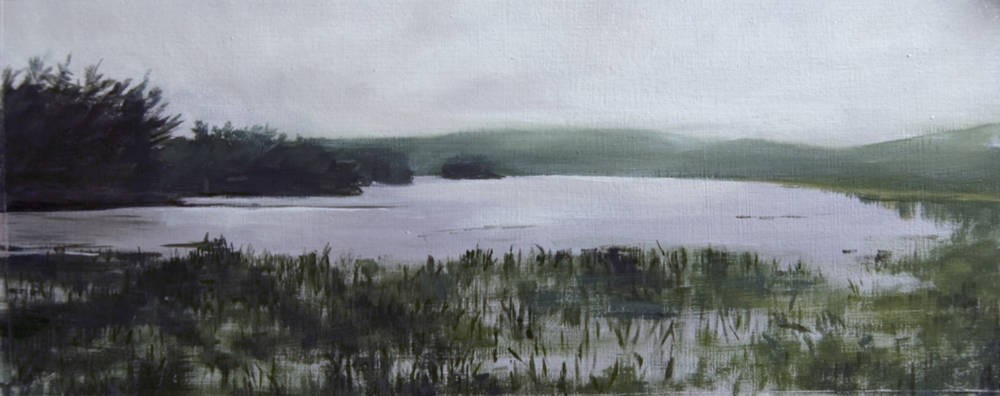 """Recollections of Flying Pond, III"", oil on board, 5"" x 12.5"", Private collection"
