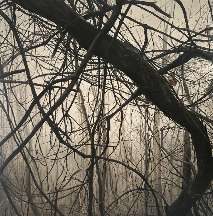 """""""Skyuka in the Fog"""", 2018, oil on canvas, 26"""" x 26"""""""