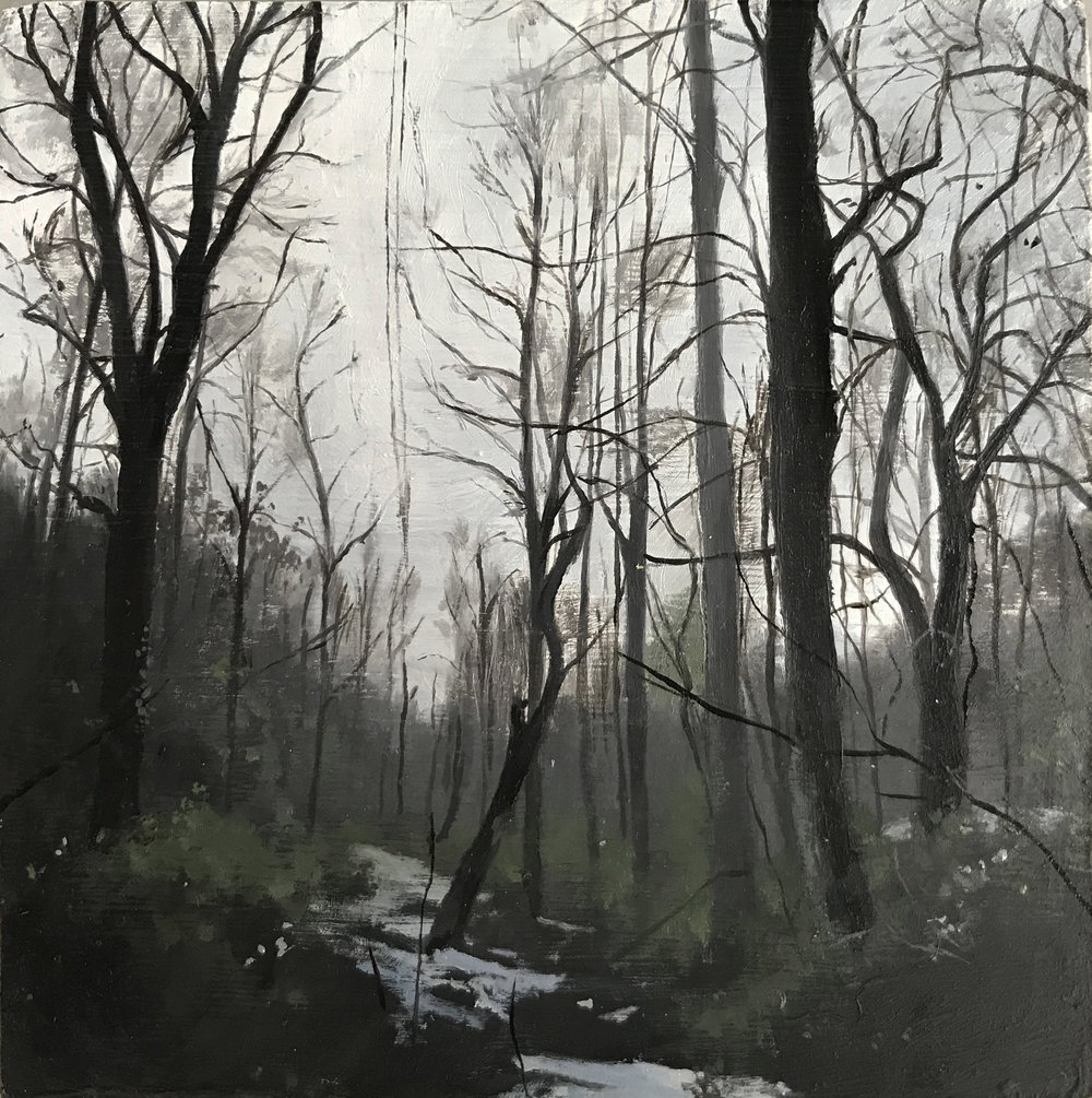 """""""After the Snow"""", 2018, oil on panel, 4.25"""" x 4.25"""""""