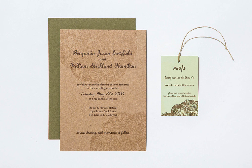 Letterpress Invitation Wood Ring
