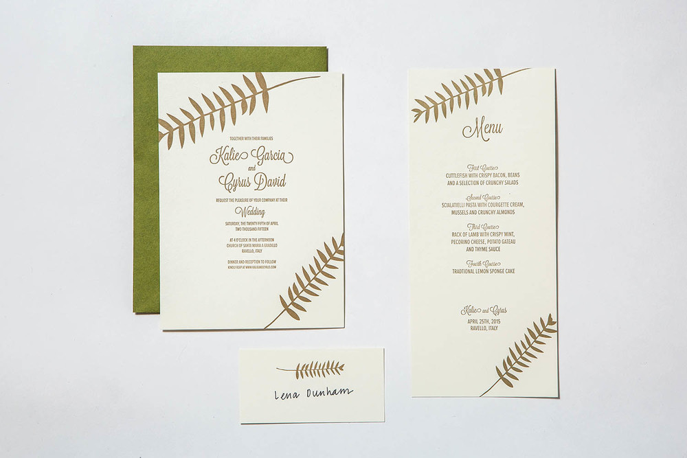 Letterpress Wedding invitation with menu and placecard