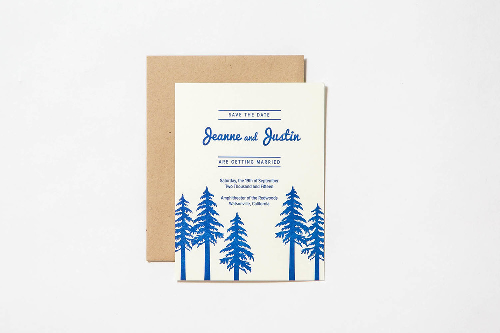 Letterpress wedding invitation forest theme