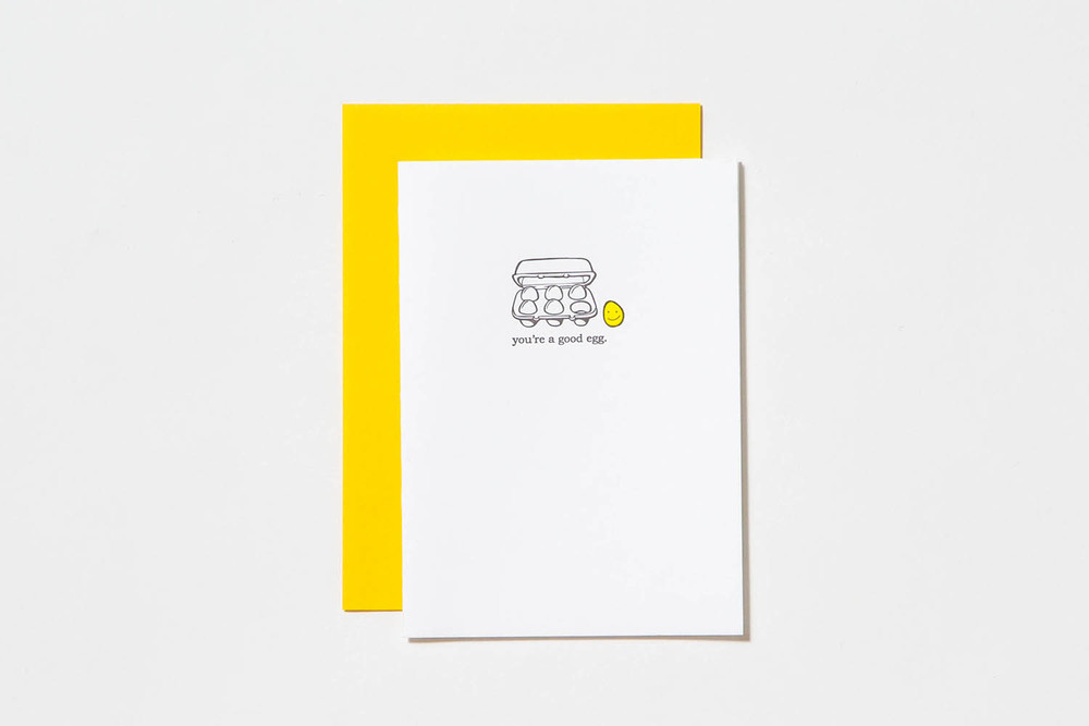 Letterpress Good Eggs thank you cards