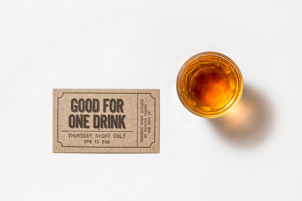 Letterpress Drink Ticket