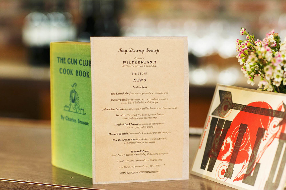 Letterpress Stag Dining Menu