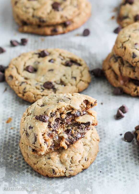 bakeddd :      peanut butter chocolate chip caramel filled cookies     click here for recipe