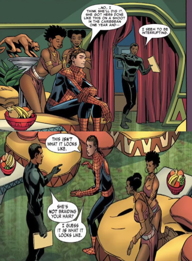 cryscokid :     Remember that time Peter Parker went to Wakanda to get his hair did?