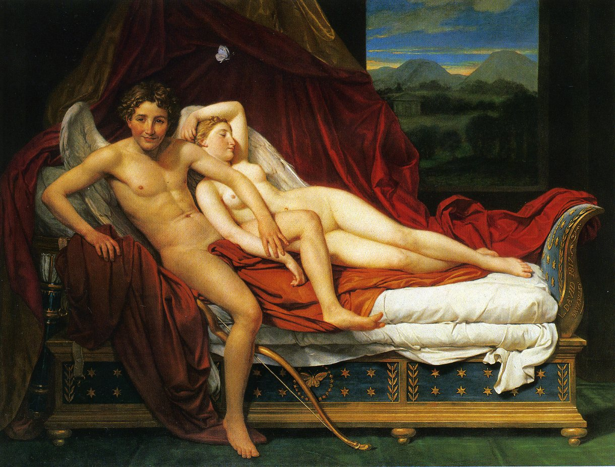 anitragrieg :         Cupid and Psyche    (1817) by Jacques-Louis David, Oil on canvas