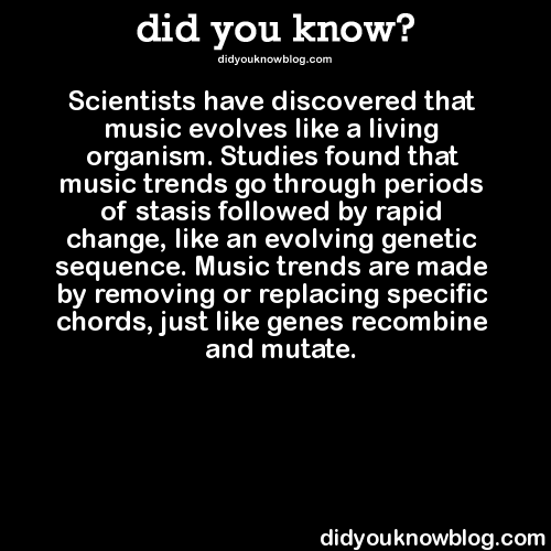 did-you-kno :     Each decade has produced drastically different music, except for the 80s - when everything sounded the same until rap and hip-hop started a major revolution.   Source