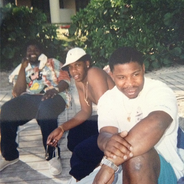 """aintnojigga :       """"We lost Ty and E, but we still eatin' though""""     Jay-Z with his hustler friends Big Ty  (currently incarcerated)  and a youngEmory Jones  (Welcome home to Emory!) , relaxing in St. Thomas in 1995, while filming the  In My Lifetime video. You should recognize Vegas Jones, as he is one of Hov's closest confidants and frequent business partner."""