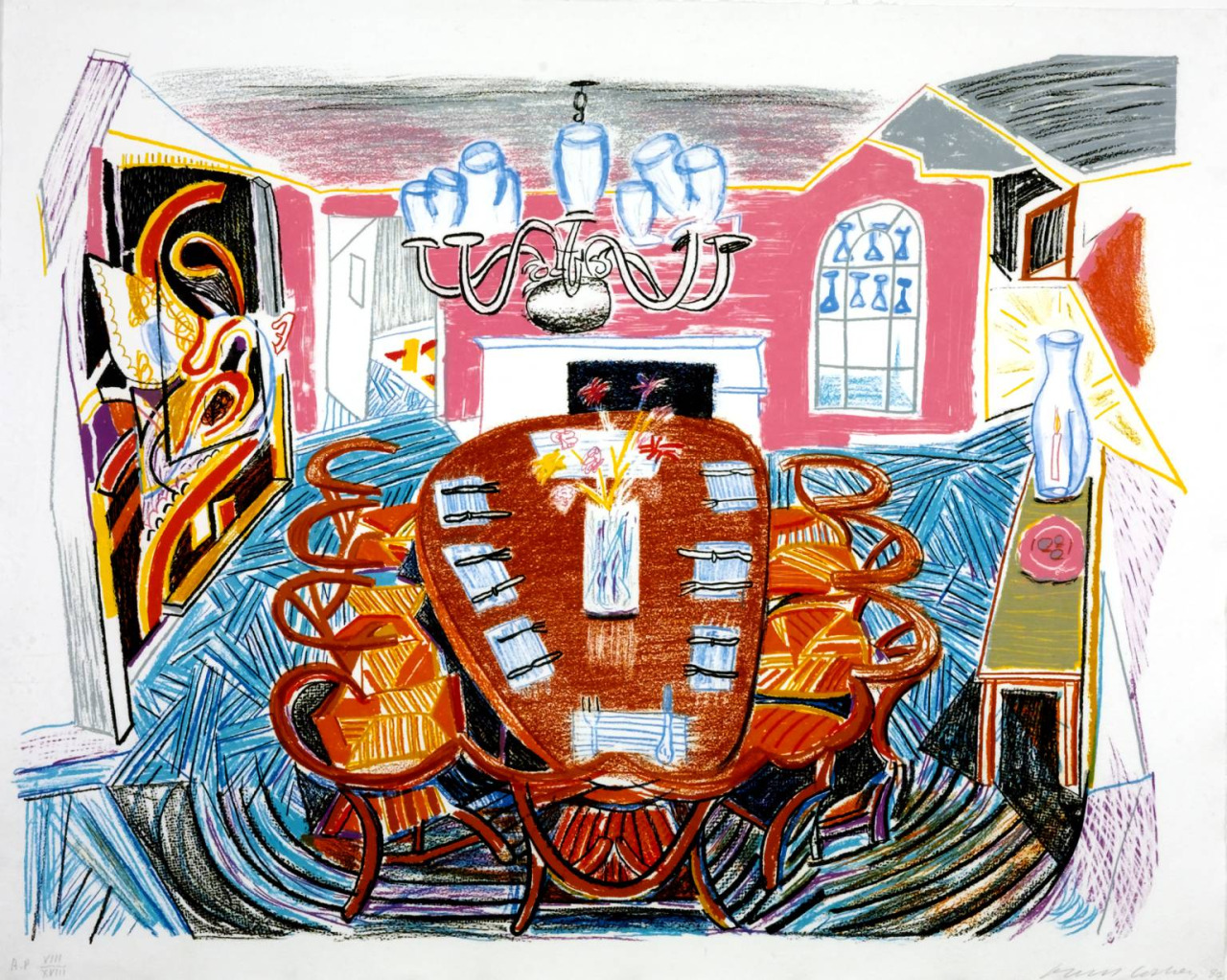 transistoradio :     David Hockney (b.1937),  Tyler Dining Room  (1984), lithograph on paper, 95 x 73 cm. Collection of Tate, UK. Via  Tate .