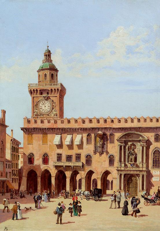 pintoras :     Antonietta Brandeis (Czech, 1848 - 1926):  Palazzo Communale in Bologna  (via  im Kinsky )