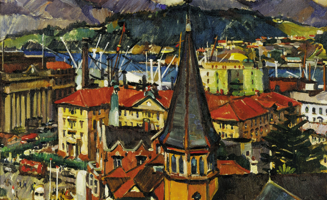 pintoras :     Evelyn Page (New Zealand, 1899 – 1988):  City, Harbour and Tower  (c.1950) (via  New Zealand Museum Te Papa Tongarewa )