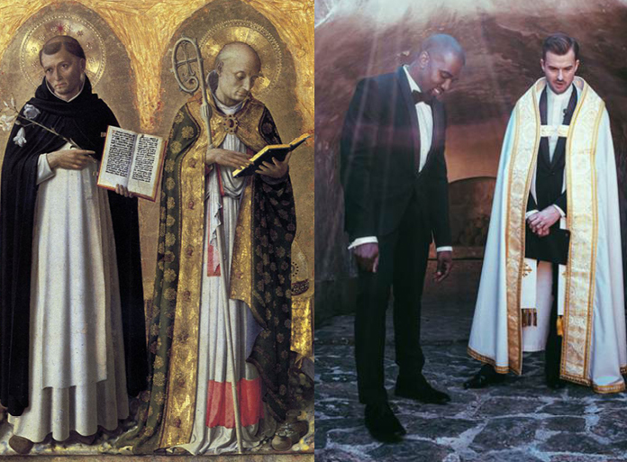 b4-16 :     Left: Perugia Altarpiece left panel by Fra Angelico, 1437 / Right: Kanye West and  Pastor  Rich Wilkerson Jr at Kim & Kanye's wedding. May 24, 2014 Florence Italy