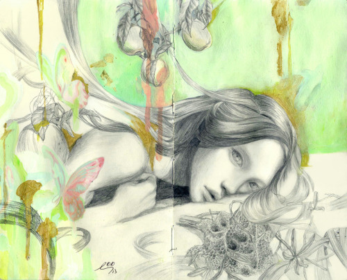 red-lipstick :     So Youn Lee (b. South Korea, based California) - Honey High Drawings: Mixed Media on Moleskine