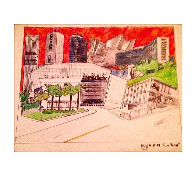 """""""Los Tokyo""""  161/2"""" x 171/2""""  Medium: color pencil  11.25.14"""