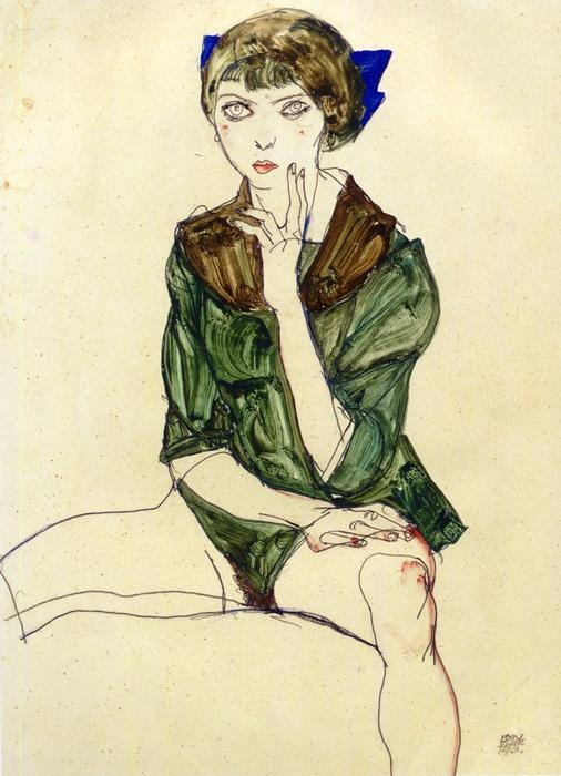 artmolecula :     Egon Schiele - Sitting Woman in a Green Blouse 1913