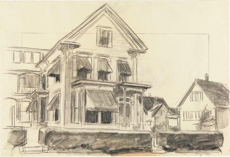 artmolecula :     Edward Hopper - Study for Rooms for Tourists, 1945