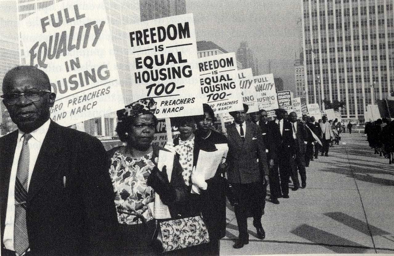 olddetroit :     Members of the NAACP and church leaders picket for open housing at the Detroit Civic  Center .