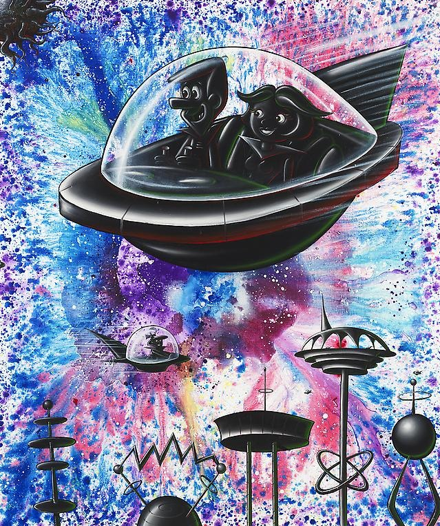 tuckerbaileyco :       Obsidian Barbera Futura , 2013, oil, acrylic, and glitter on canvas, 72 x 60 1/8 inches.    Kenny Scharf  Amerikulture   @  eric firestone gallery  26 July - 11 August, 2013    Opening Reception : Friday, 26 July 2013, 6 - 9 pm  4 Newtown Lane, East Hampton