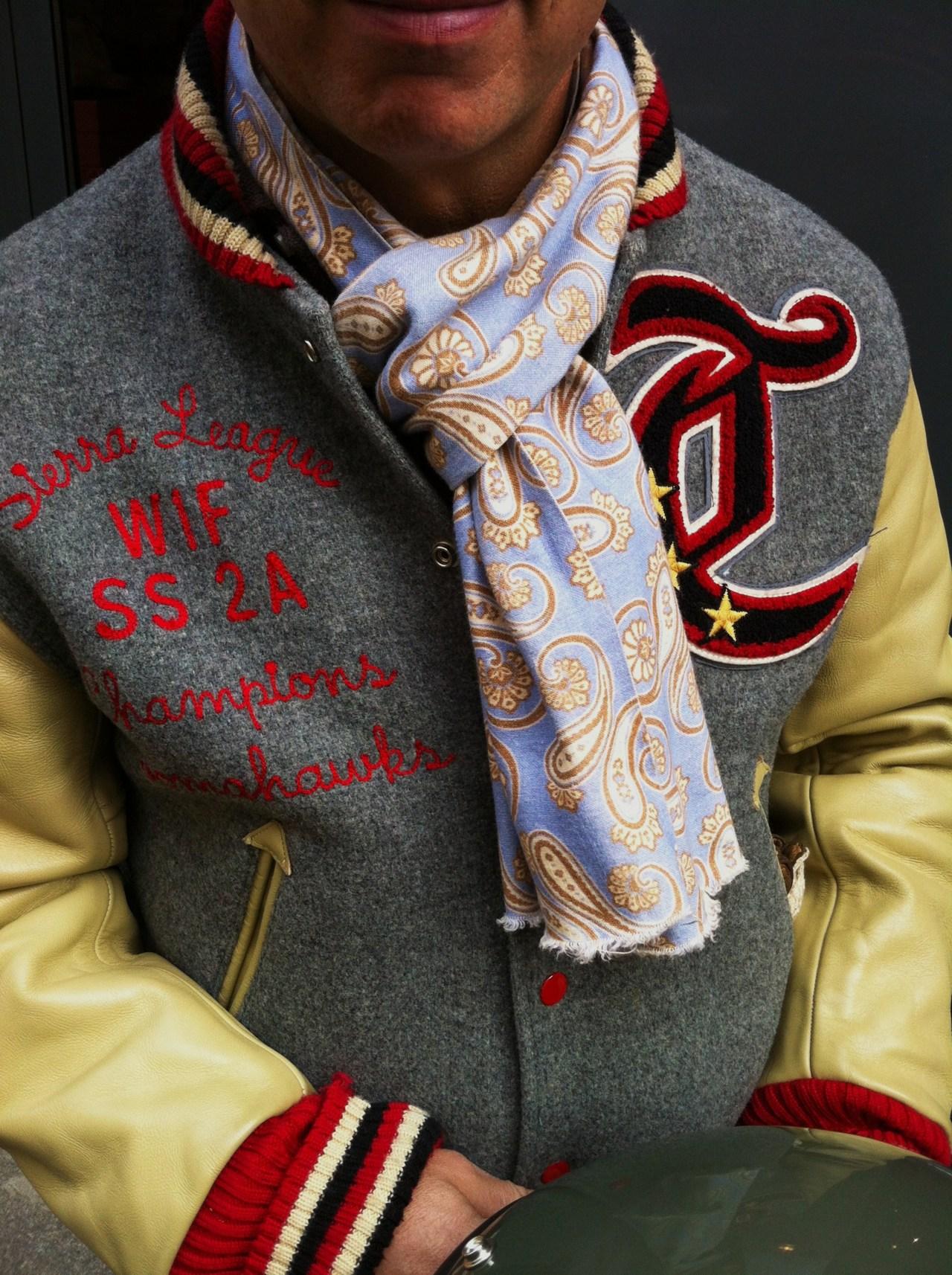 forthediscerningfew :     Paisley scarf & varsity jacket.     Dimitri Gomez  .   Paris, april 2012.