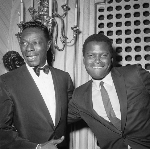 "vintageblackglamour :      Oscar winner  Sidney Poitier  and  Nat ""King"" Cole  at the 1963 Academy Awards at the Santa Monica Civic Auditorium, April 8, 1963.   This is easily one of my favorite pictures."