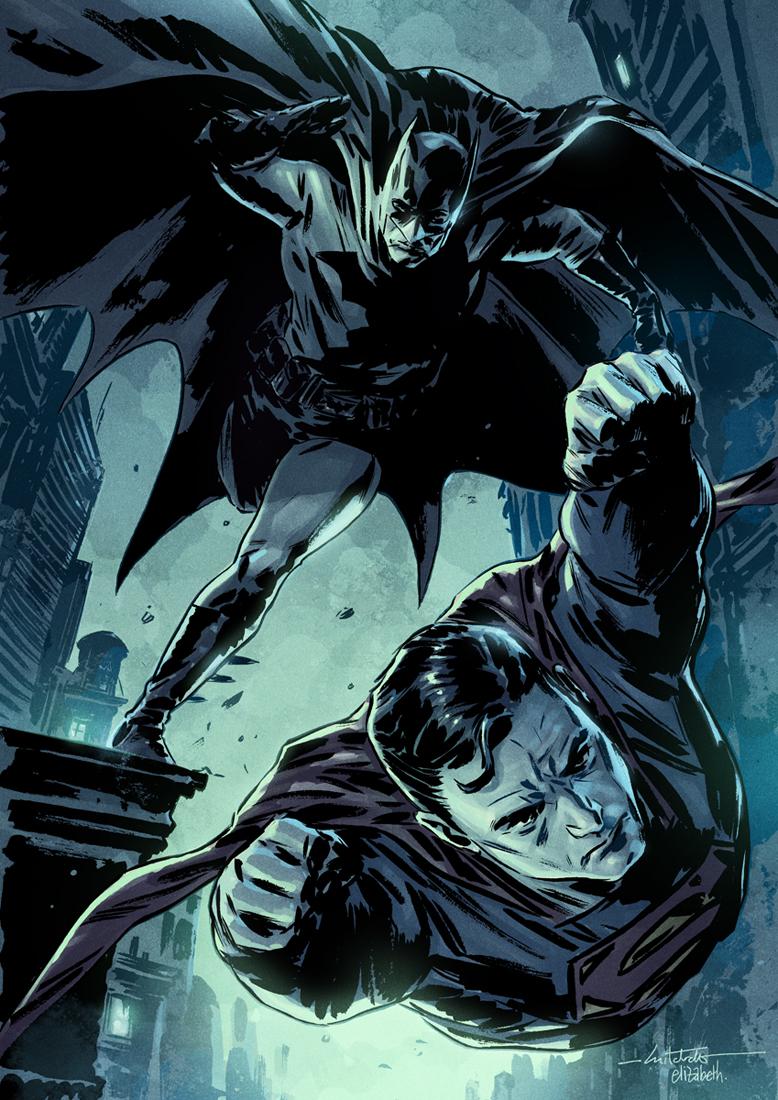 comicsforever :      Superman & Batman  // artwork by  Mitch Breitweiser  and  Elizabeth Breitweiser  (2011)