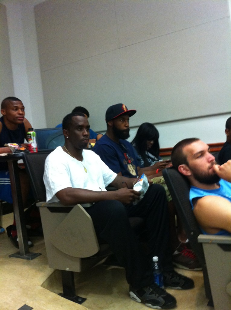 nbaoffseason :     Back To School Special.   Russell Westbrook, Baron Davis, Kevin Love and Puff Daddy (yes, Puff Daddy), are all attending the  same class at UCLA .    I wonder which one of them will pay someone else to write their paper first.    @ Suga_Shane    via  Kevin Love