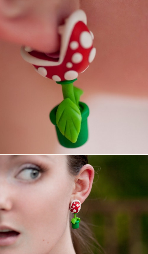 thedailywhat :       Above:    Piranha Plant earrings  by Etsy seller lizglizz. ( via .)