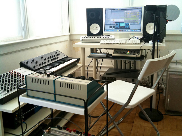 fuckyeahguitargears :      Studio  by  oliverchesler  on Flickr.     Put Me In The Chair and We Go TO WORK!
