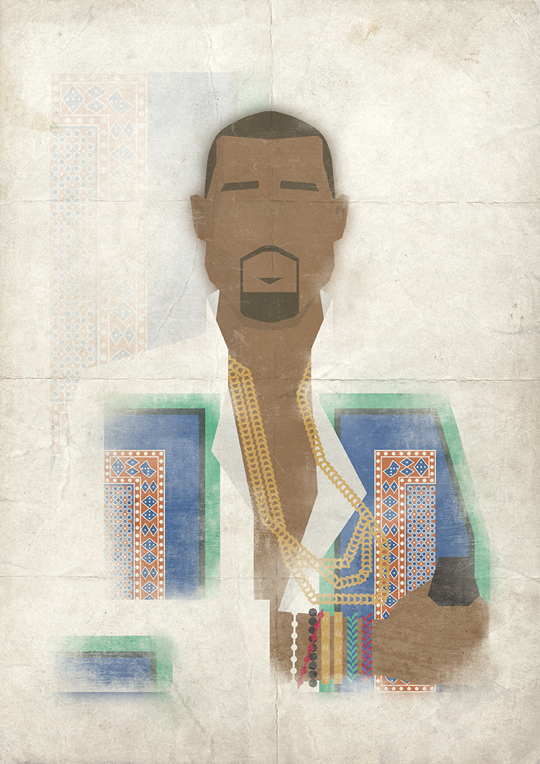 ohsospliff :     Another  Mr.Burt  illustration. This time I present to you KANYE WEST.