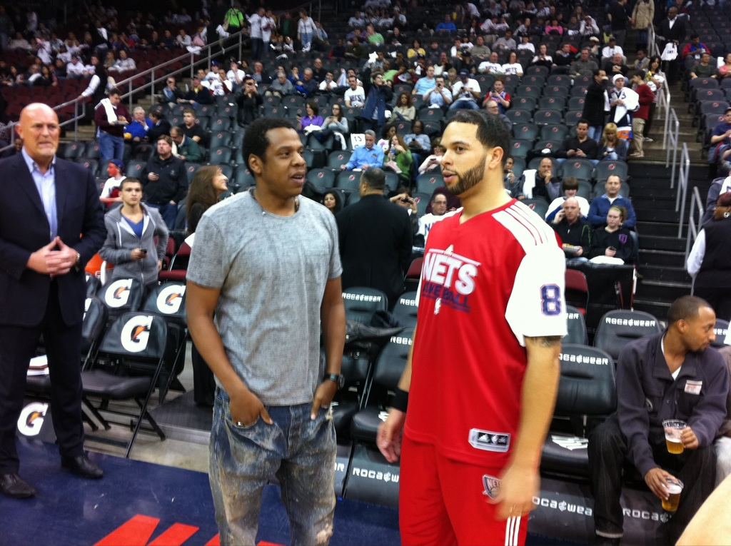 supremejets :      deadthehype :     Hov welcoming D-Will to his first home Nets game.     I feel bad for him.     Hov: Yeah so I was saying….   D.WIll: Yeah fuck that shit get me a team or my slick haired ass is gonna be upset