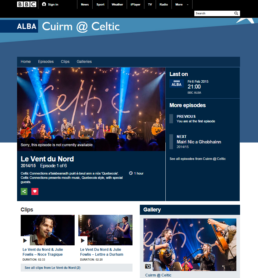 Le Vent du Nord @ Celtic Connections 2015 - iPlayer programme image