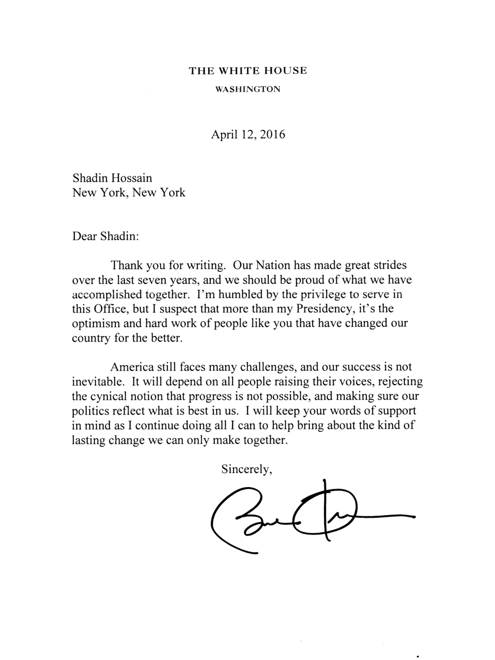 From Barack Obama