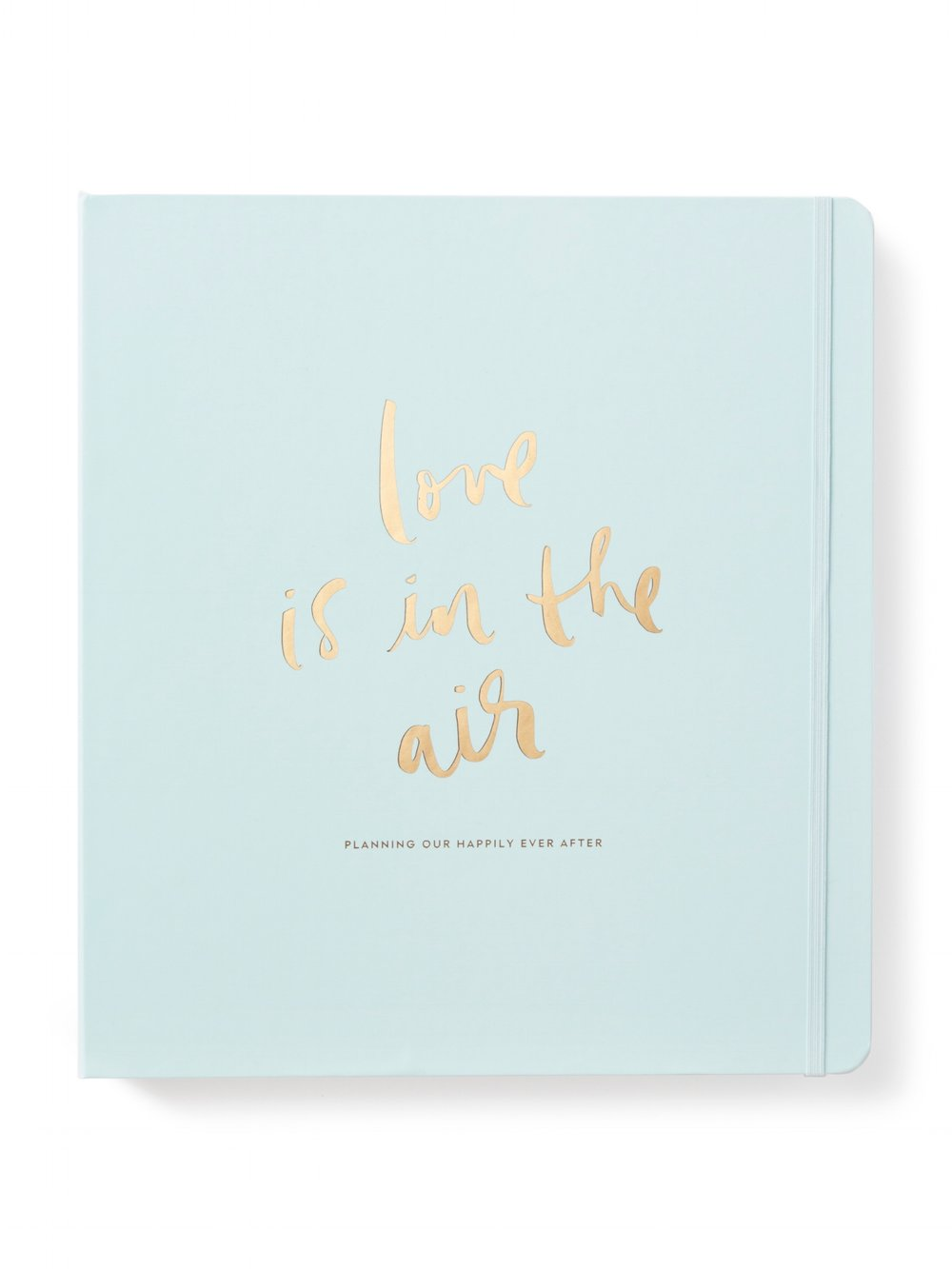 Kate Spade Light Blue Bridal Planner  Details: gold 3 ring binder with pocket with gold accents and 48 planning pages