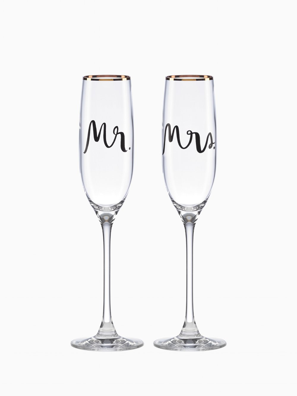 "Kate Spade Mr & Mrs Champagne Flutes  It's time to make a toast to love, marriage and a wonderful life with these gorgeous 6 oz Champagne flutes, romantically labeled ""Mr & Mrs"" Great for the wedding day toast and for many years after!"
