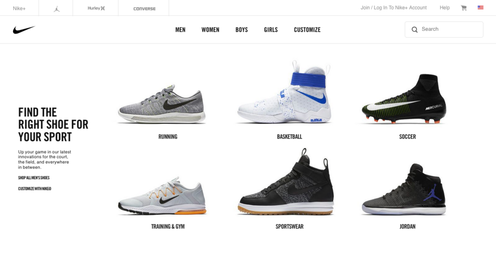 Nike Website Product Photography Exsample